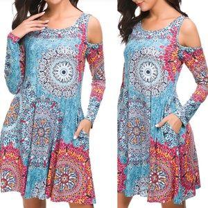 SWEETIE Cold Shoulder Blue boho  POCKET Dress *NWT